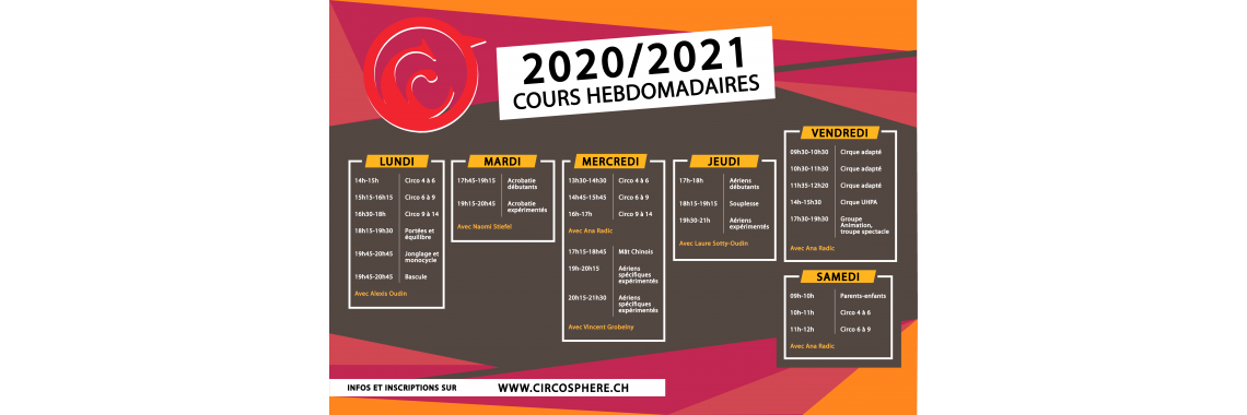 Cours Hebdomadaires 2019 - 2020
